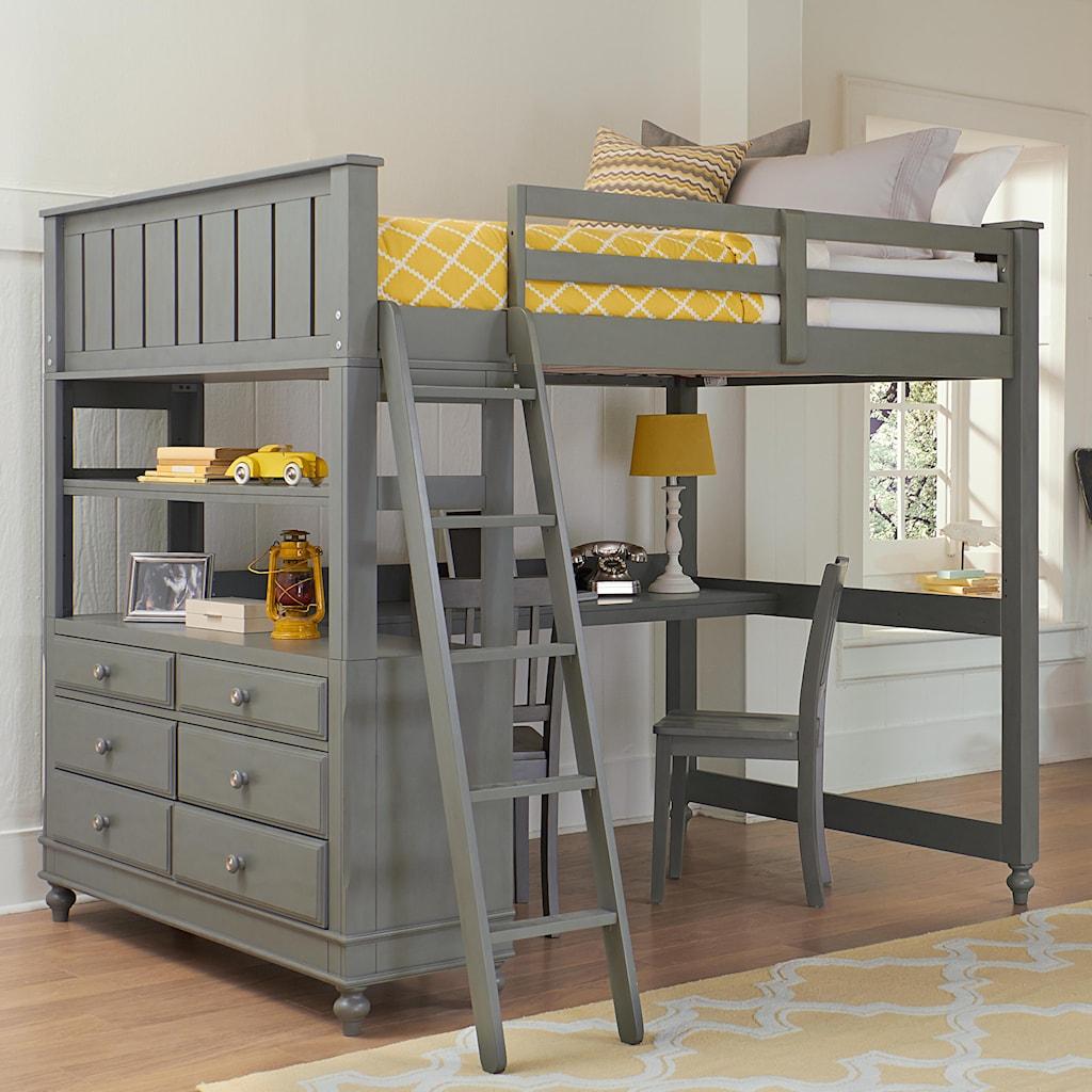 Ne Kids Lake House Full Loft Bed With Desk And Dresser Stoney