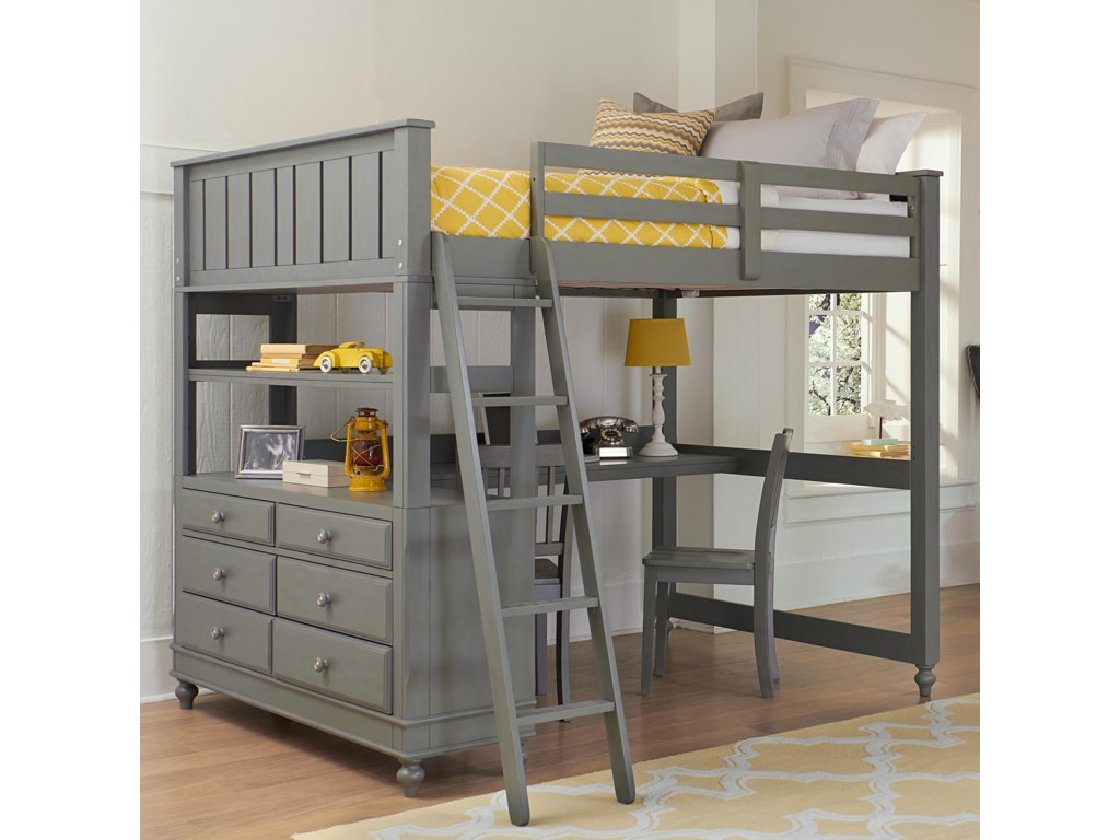 NE Kids Lake HouseFull Loft Bed with Desk