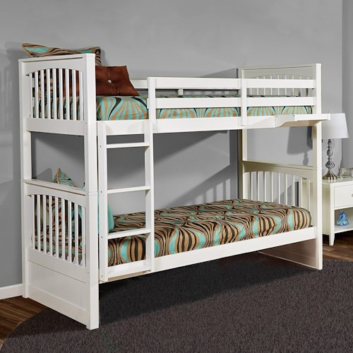 NE Kids Pulse Mission Style Twin Over Twin Bunk Bed