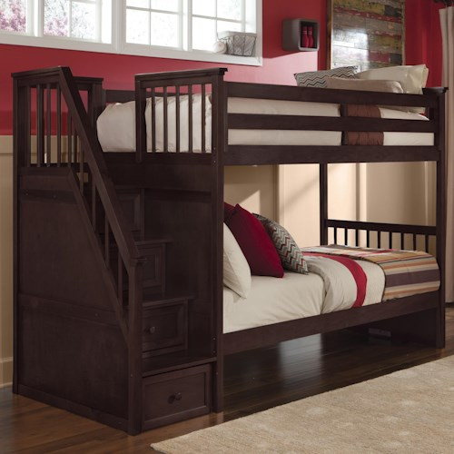 NE Kids School House Twin Over Bunk With Storage Stairs