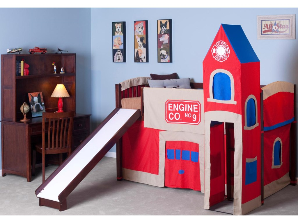 Shown in Room Setting with Desk, Hutch, Junior Loft Bed and Firehouse Tent