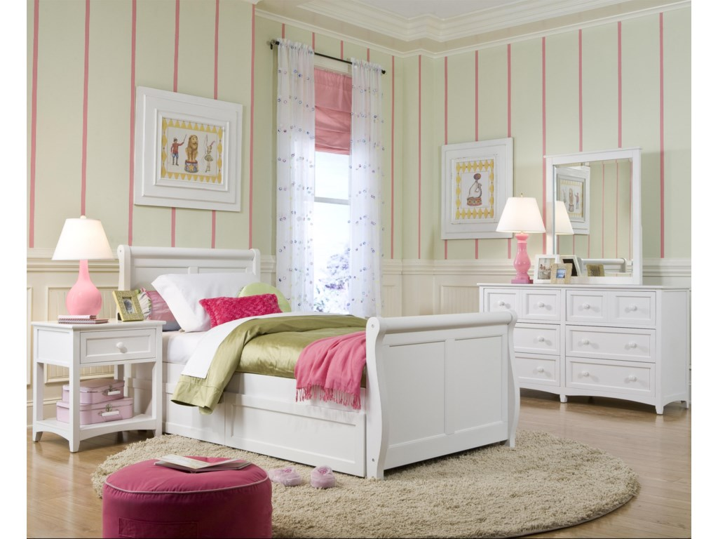 Shown in Room Setting with Dresser, Nightstand and Sleigh bed