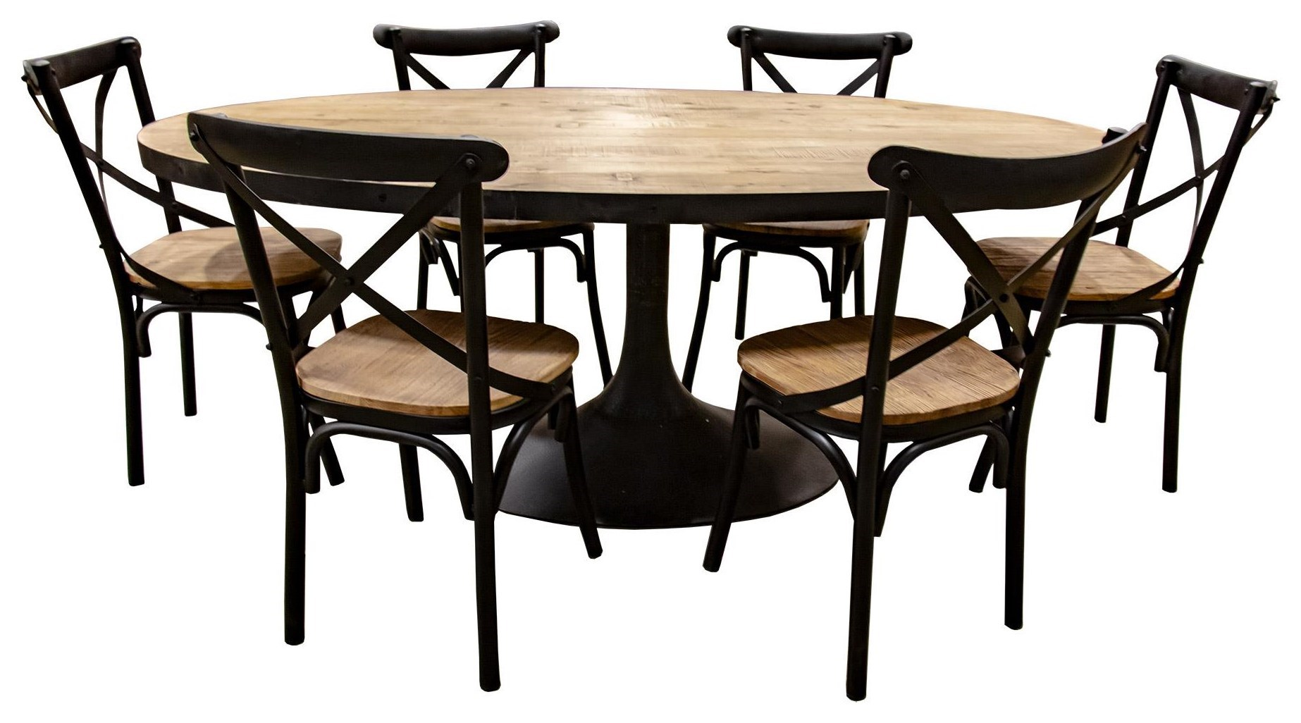 Ordinaire Nest Home Collections Miranda Oval Natural Wood Dining Table With Six Iron  And Wood Chairs