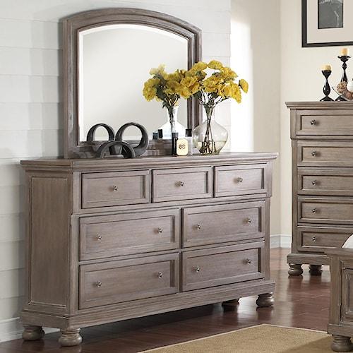 New Classic Allegra 7 Drawer Dresser & Mirror Set