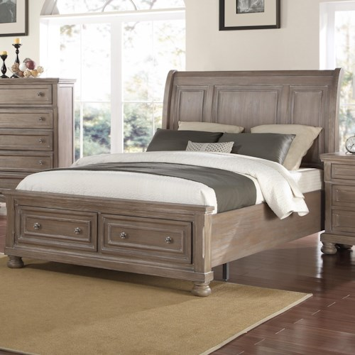 New Classic Allegra Queen Low Profile Bed with Footboard Storage
