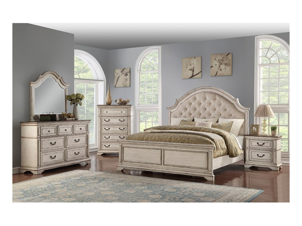 New Classic AnastasiaQueen Tufted Headboard Bed