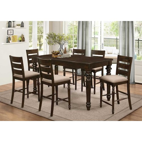 New Classic Annandale 7 Piece Counter Table and Upholstered Chair Set