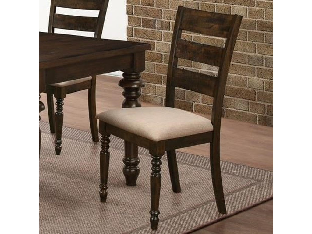 New Clic Annandale Ladder Back Side Chair With Upholstered Seat Cushions