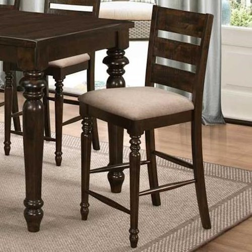 New Classic Annandale Ladder Back Counter Chair with Turned Front Legs and Stretchers