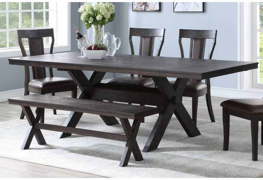 New Classic Aubree D682 10t 10b Contemporary Dining Table With 2 Extension Leaves Corner Furniture Dining Tables