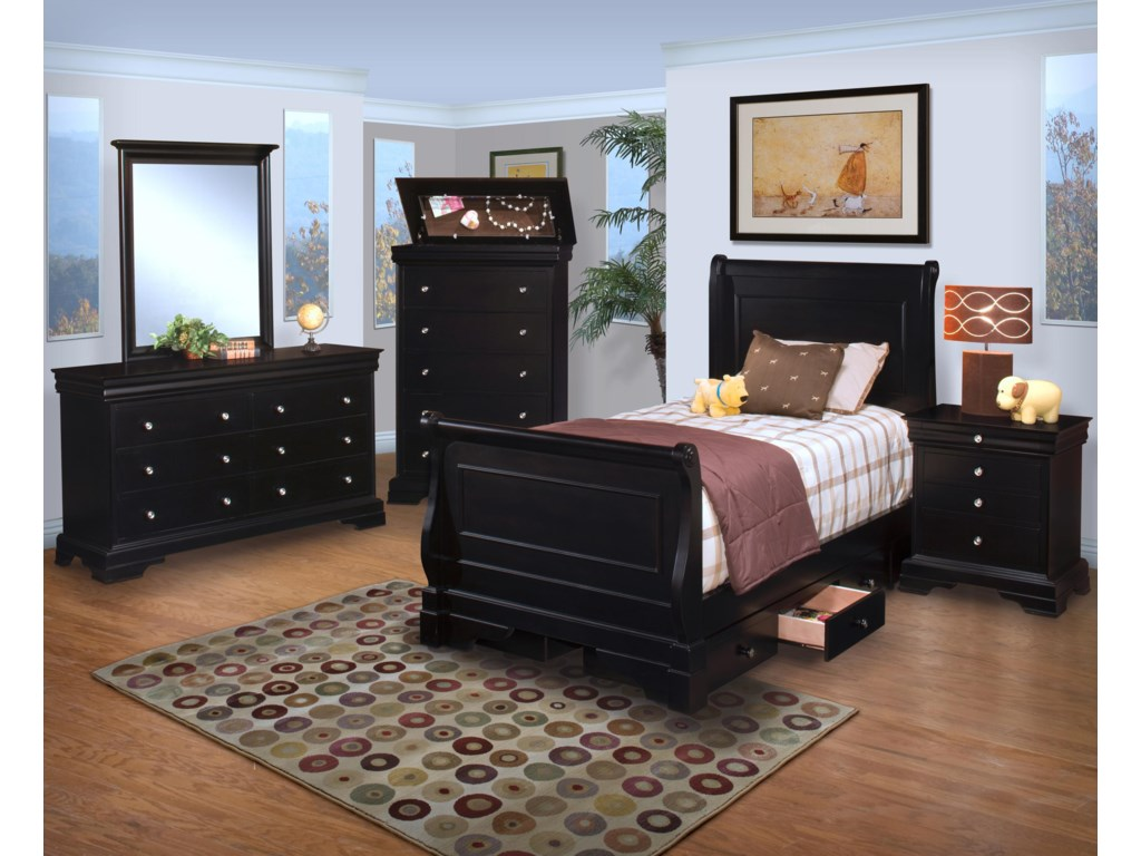New Classic Belle Rose YouthTwin Sleigh Bed