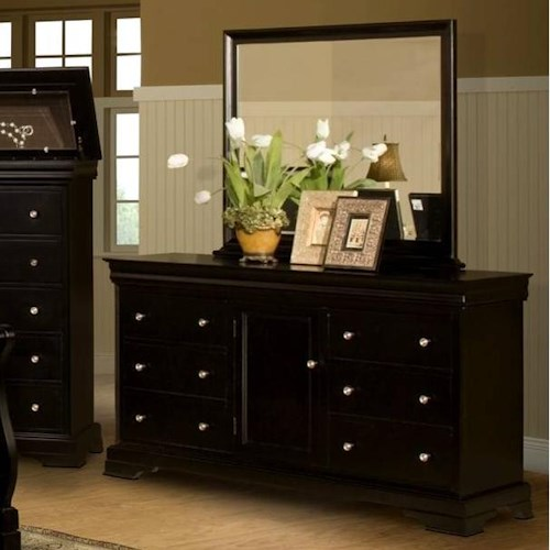 New Classic Belle Rose Six Drawer Dresser and Landscape Mirror Combination