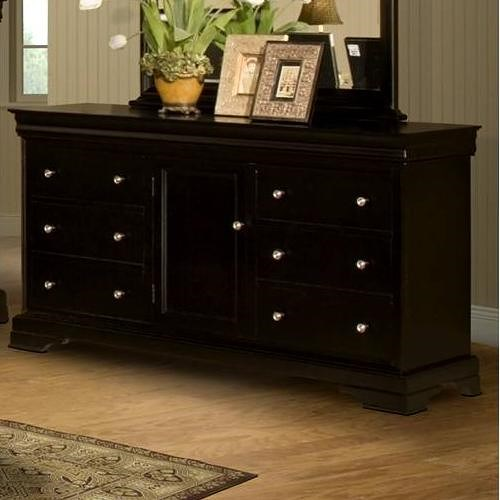 New Classic Belle Rose Six Drawer Dresser with Center Door and Adjustable Shelf
