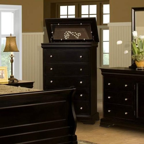 New Classic Belle Rose Five Drawer Chest with Lift Top