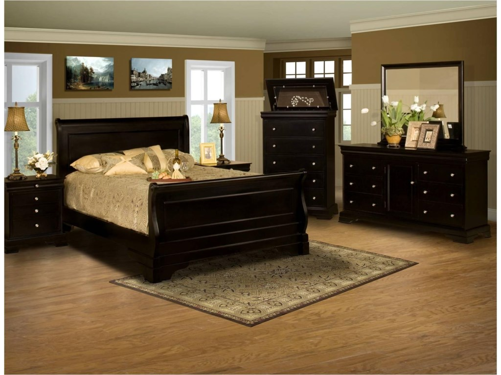 Shown with Night Stand, Chest, Dresser, and Mirror.  Bed Shown May Not Represent Size Indicated