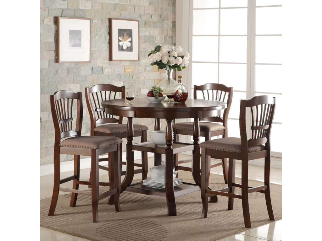 new classic bixby 5 piece round counter table set with storage