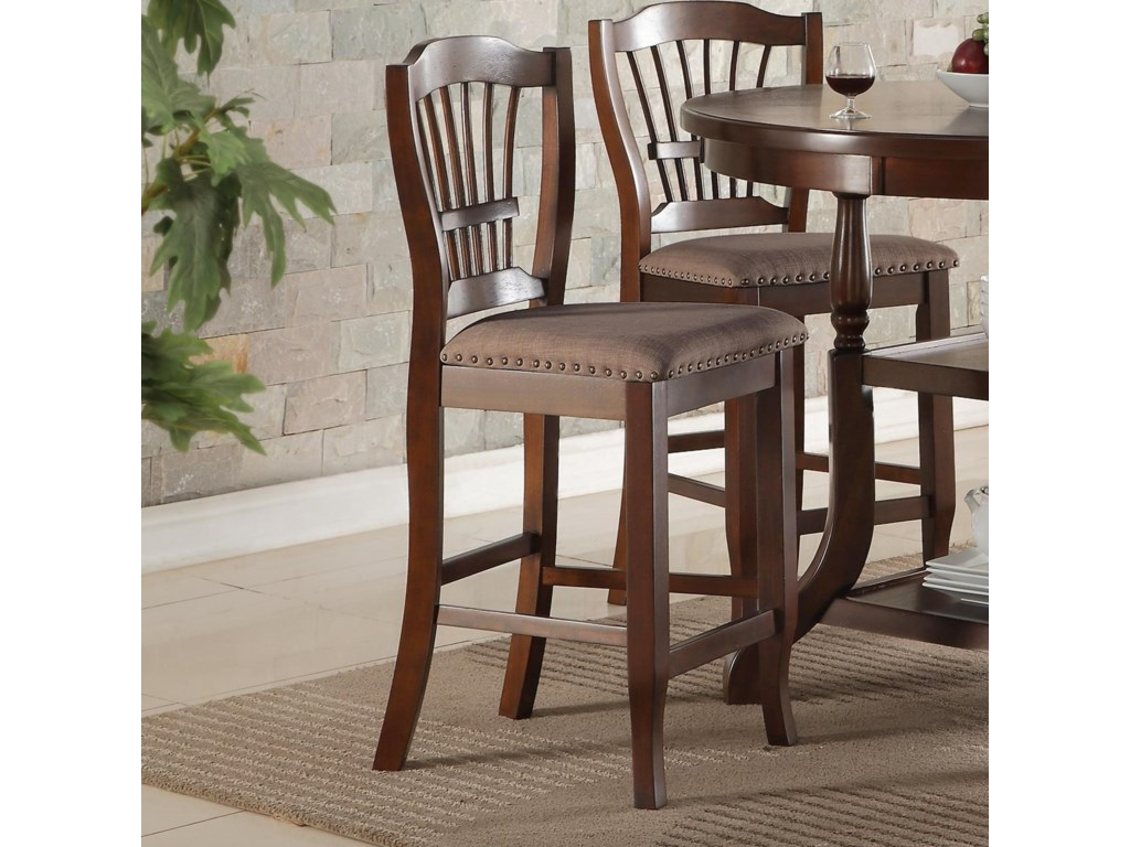 New Classic Bixby Dining Counter Chair With Wheat Back And