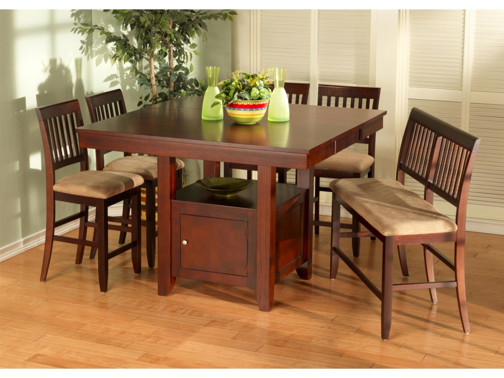 Brendan 6 Piece Storage Pub Table Bench And Counter Chair Set By New Clic