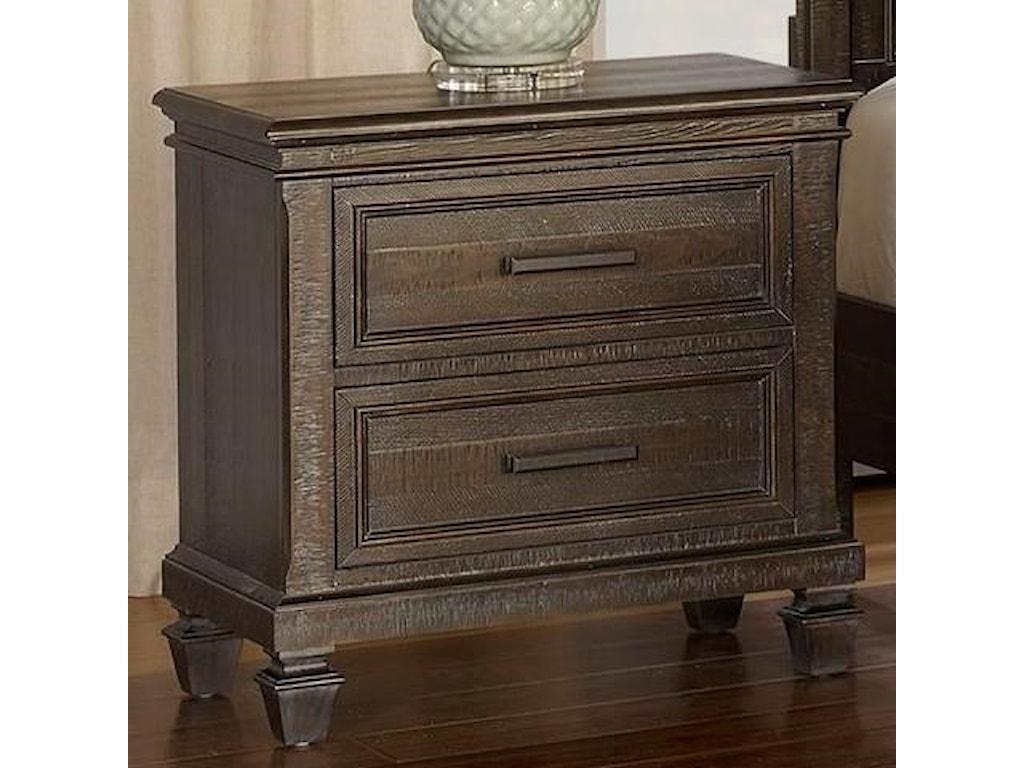 New classic cadiz bedroom transitional 2 drawer nightstand