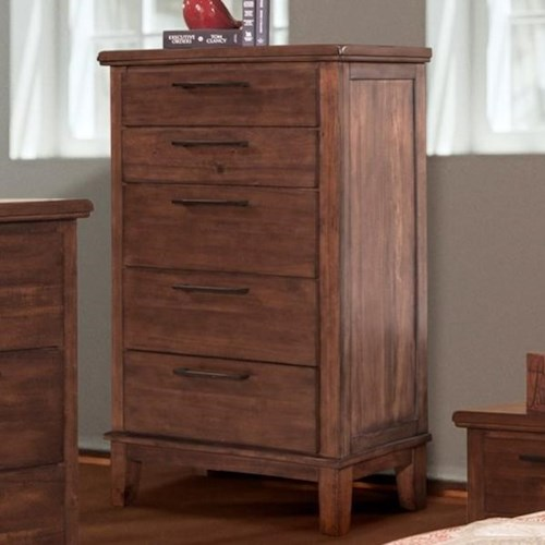 New Classic Cagney Transitional 5 Drawer Chest of Drawers with Felt Lined Top Drawer