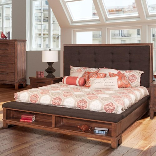 New Classic Cagney Transitional Upholstered Queen Platform Bed with Footboard Storage