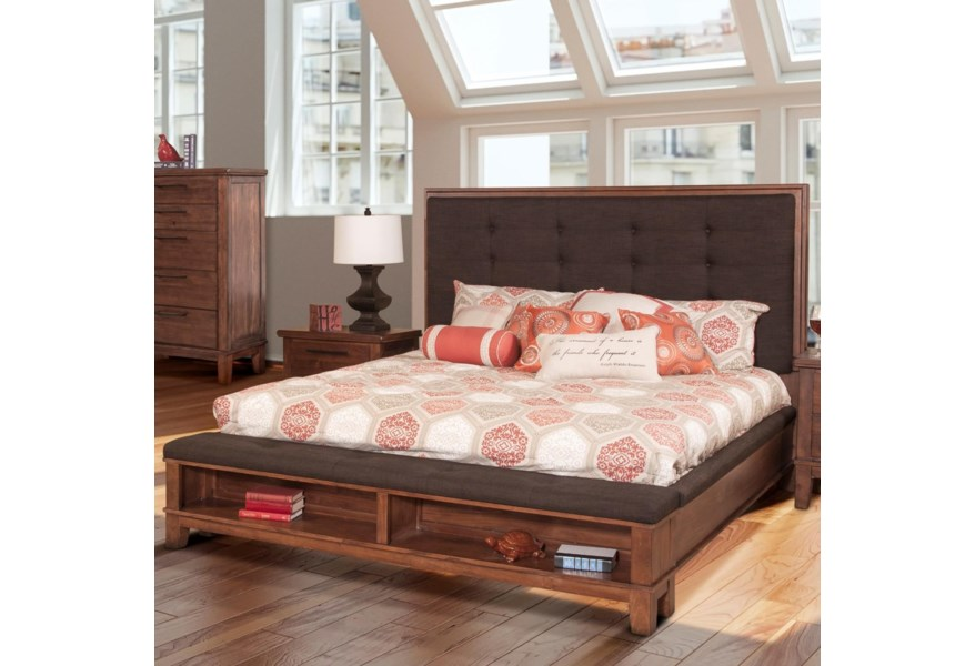 New Classic Cagney Transitional Upholstered Queen Platform Bed