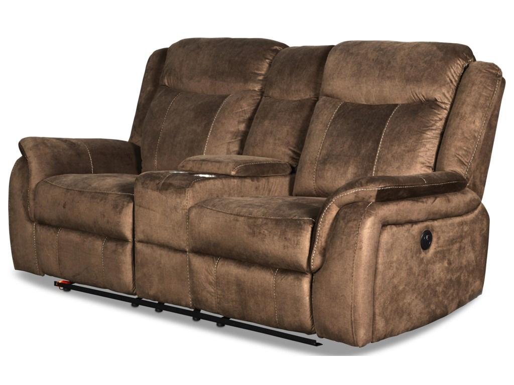 New Classic Cavett CocoaReclining Loveseat with Console