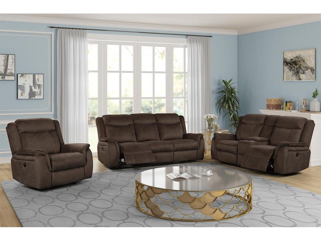 New Classic Cavett Cocoa3 Piece Reclining Living Room Set