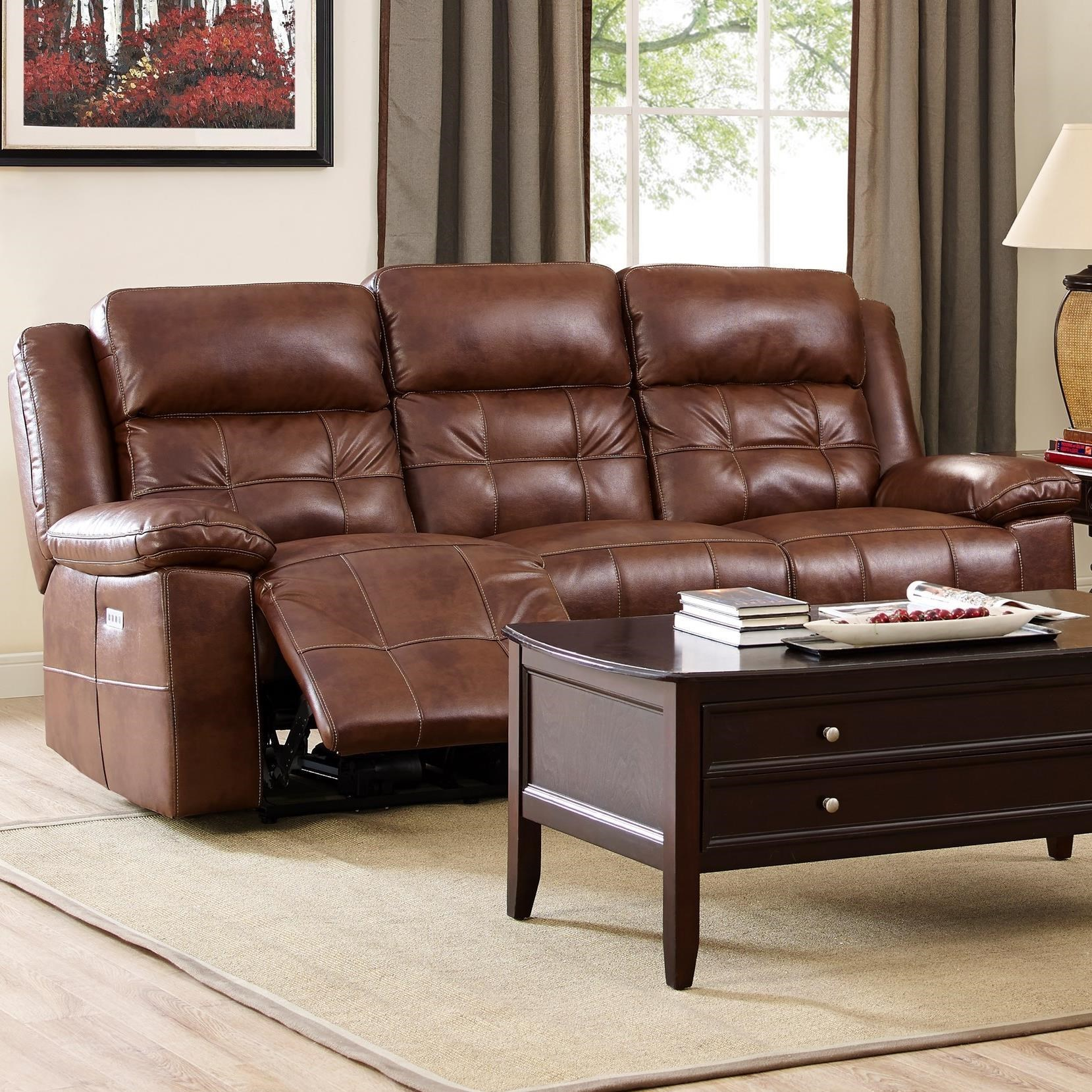 New Classic Clayton Casual Power Reclining Sofa With Power Headrests   Adcock  Furniture   Reclining Sofas