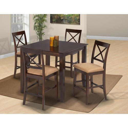 New Classic Crosswinds Five-Piece Square Top Table and Upholstered Chair Counter Dining Set