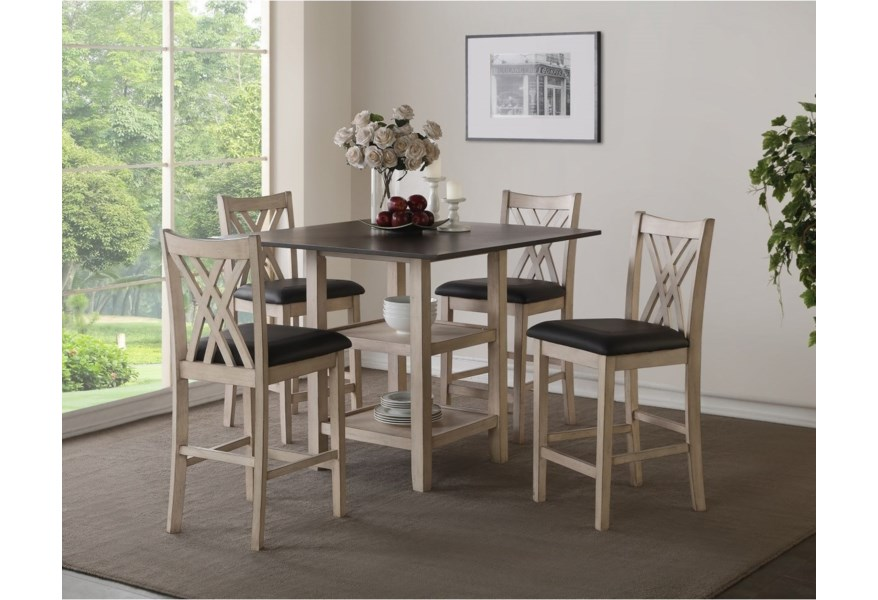 New Classic Paige Casual 5 Piece Counter Height Dining Set With Center Storage A1 Furniture Mattress Pub Table And Stool Sets