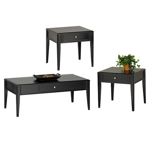 New Classic East Shore 3 Pack Occasional Table Group with Cocktail Table and Two End Tables
