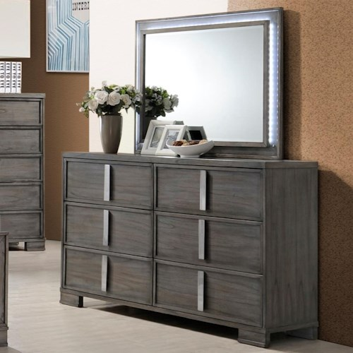 New Classic Edgewater Six Drawer Dresser and LED Backlit Mirror