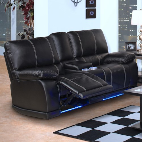 New Clic Electra Contemporary Dual Recliner Console Loveseat With Cup Holders And Storage Boulevard Home Furnishings Reclining Loveseats