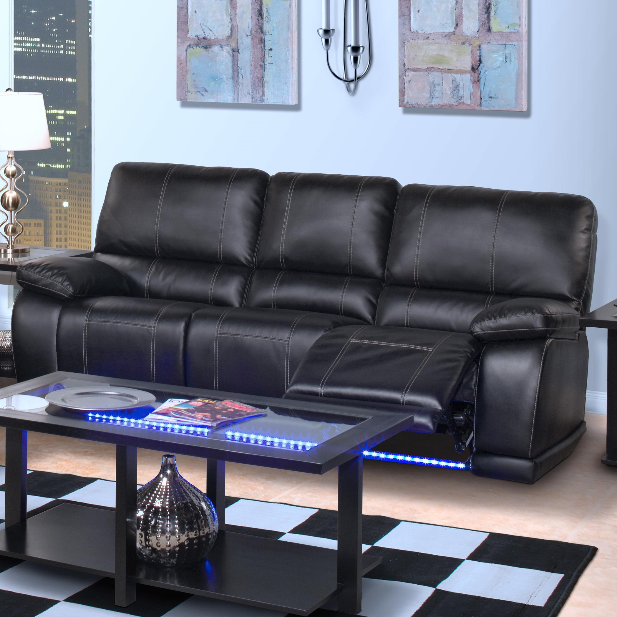 Bon New Classic Electra Contemporary Power Motion Sofa With Base Lighting