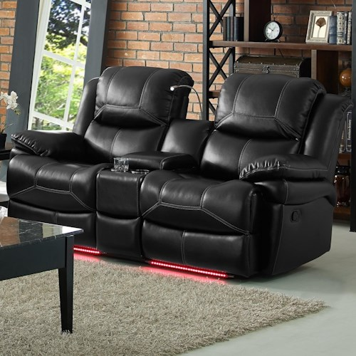 New Classic Flynn Contemporary Reclining Loveseat with Storage Console and Lighted Cupholders