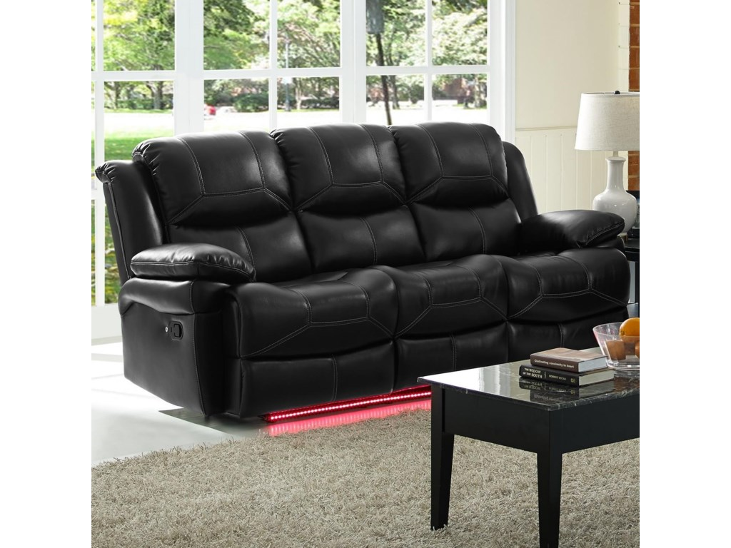 Flynn Contemporary Reclining Power Sofa with Pillow Arms by New Classic at  Dunk & Bright Furniture
