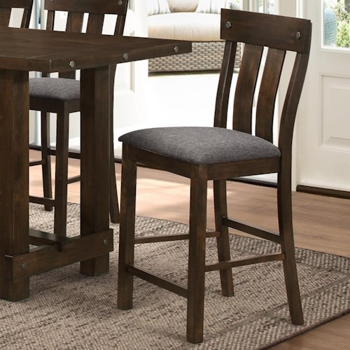 New Classic Frisco Slat Back Counter Chair With Linen Like Seat Cushion Boulevard Home