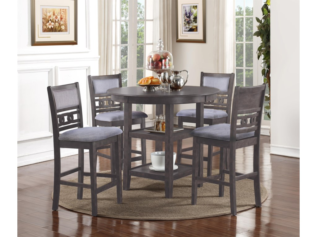 New Classic Gia GrayCounter Height Dining Table and Chair Set