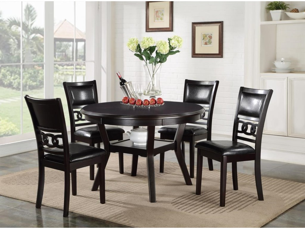 Gia Dining Table And Chair Set With 4 Chairs Circle Motif By New Clic