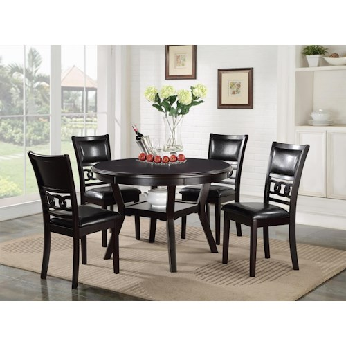 New Classic Gia Dining Table and Chair Set with 4 Chairs and Circle Motif