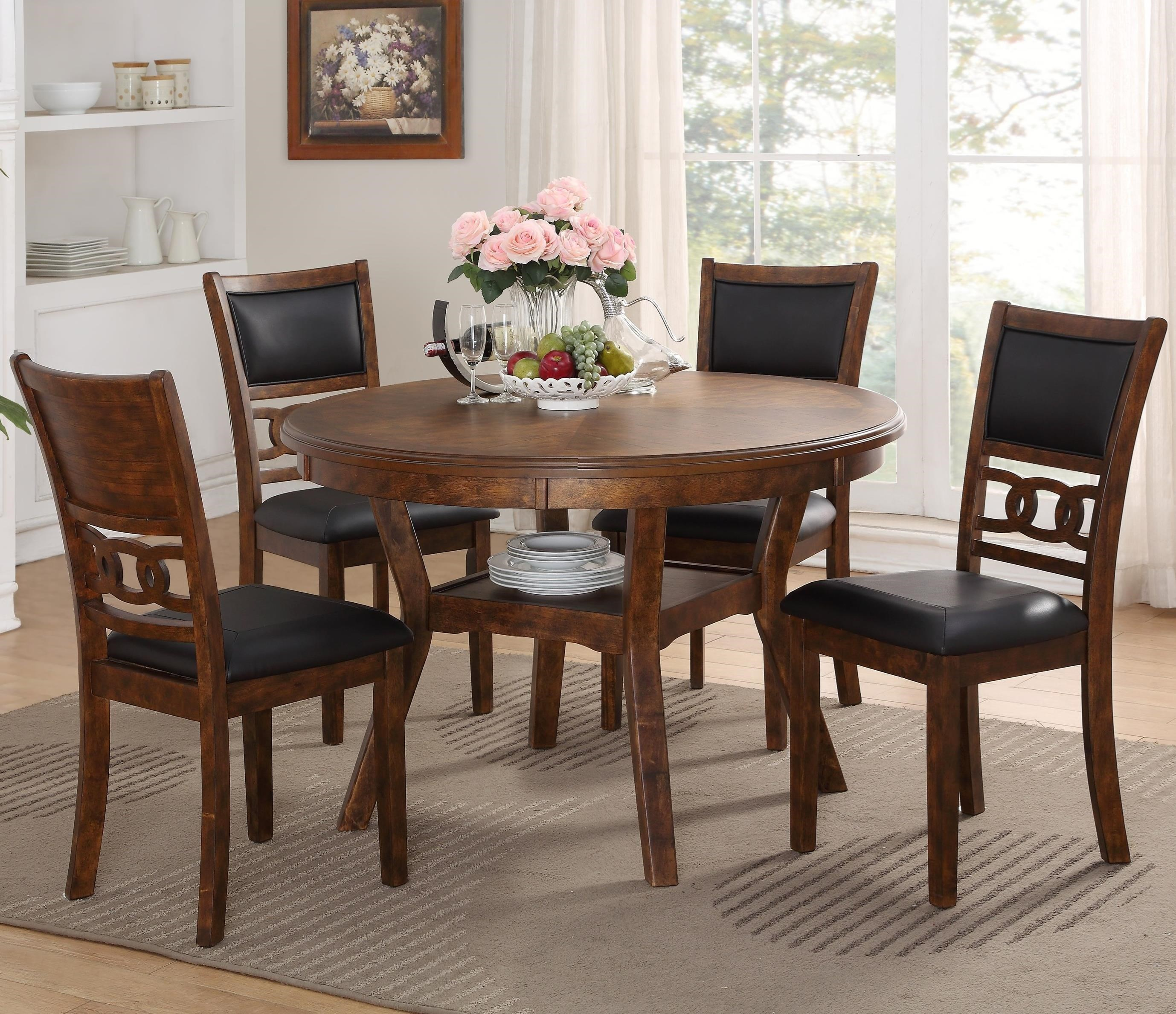 New Classic GiaDining Table and Chair Set with 4 Chairs & New Classic Gia D1701-50S-BRN Dining Table and Chair Set with 4 ...