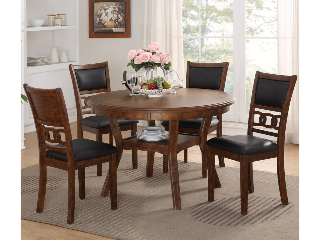 New Classic Gia D1701 50s Brn Dining Table And Chair Set With 4