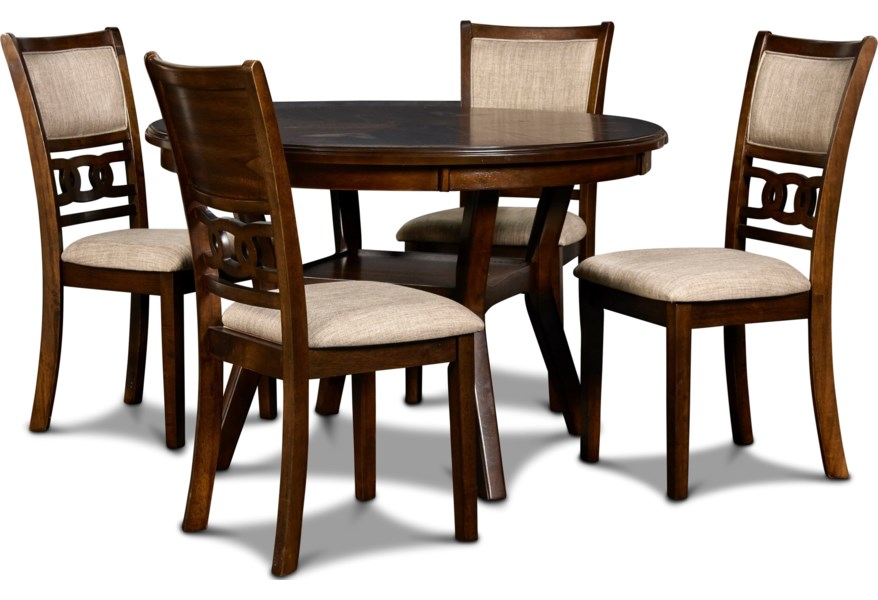 New Classic Gia 400171070 Contemporary 5 Piece Dining Table And Chair Set With Table Storage Beck S Furniture Dining 5 Piece Sets