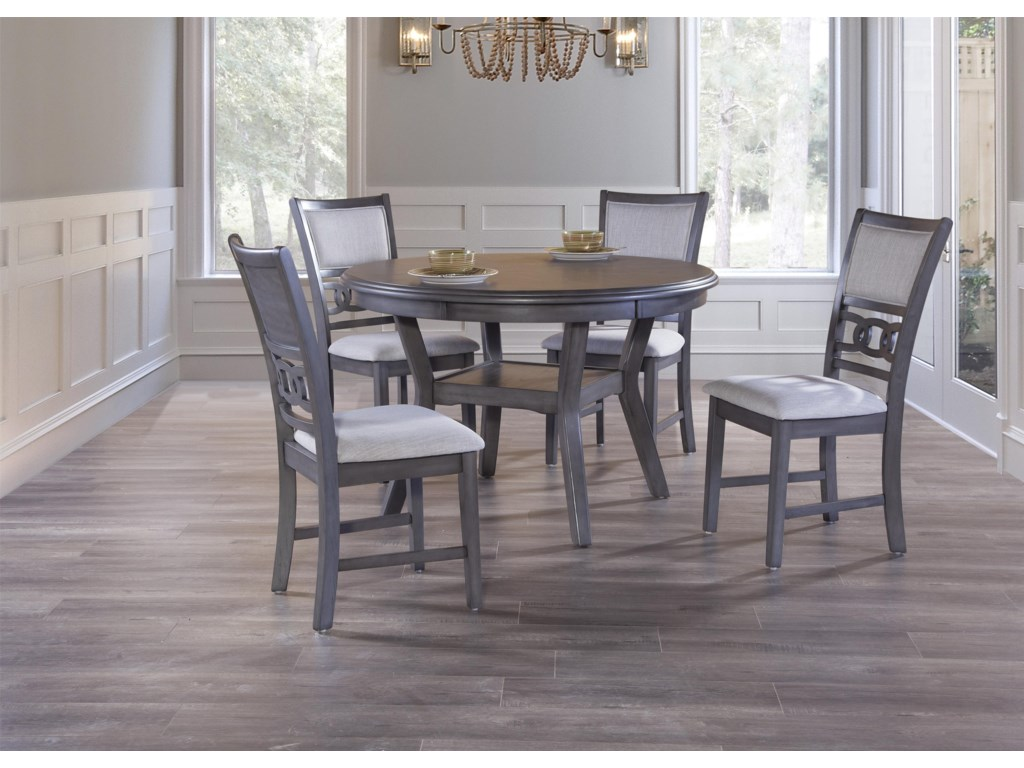 Gia Gray Round Dining Table & 4 Chairs by New Classic at Great American  Home Store