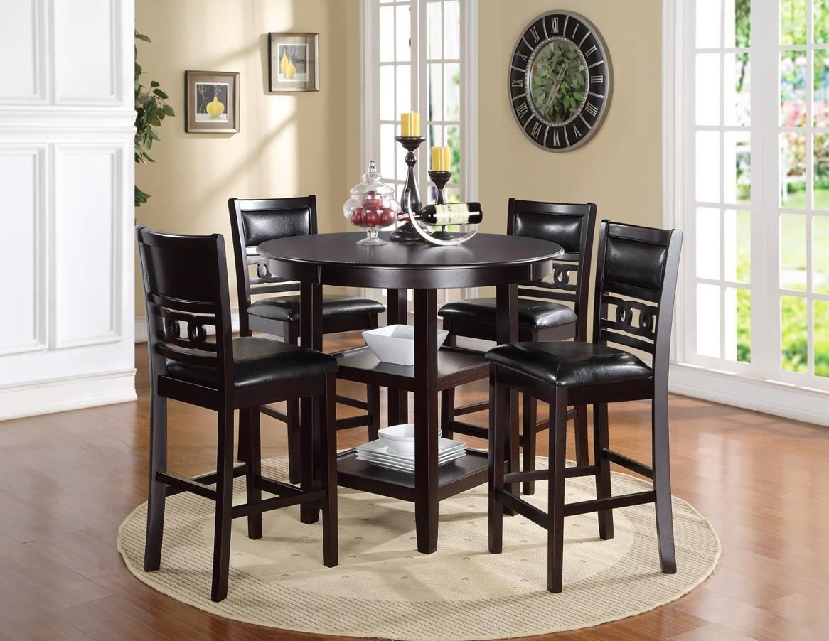 New Classic Gia Counter Height Dining Table and Chair Set with 4 Chairs and Circle Motif & New Classic Gia D1701-52S Counter Height Dining Table and Chair Set ...