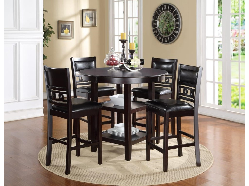 New Classic Gia D1701 52S Counter Height Dining Table And Chair Set With 4 Chairs Circle Motif