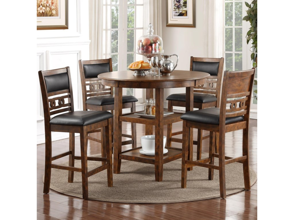 New Classic Gia D1701-52S-BRN Counter Height Dining Table and Chair ...