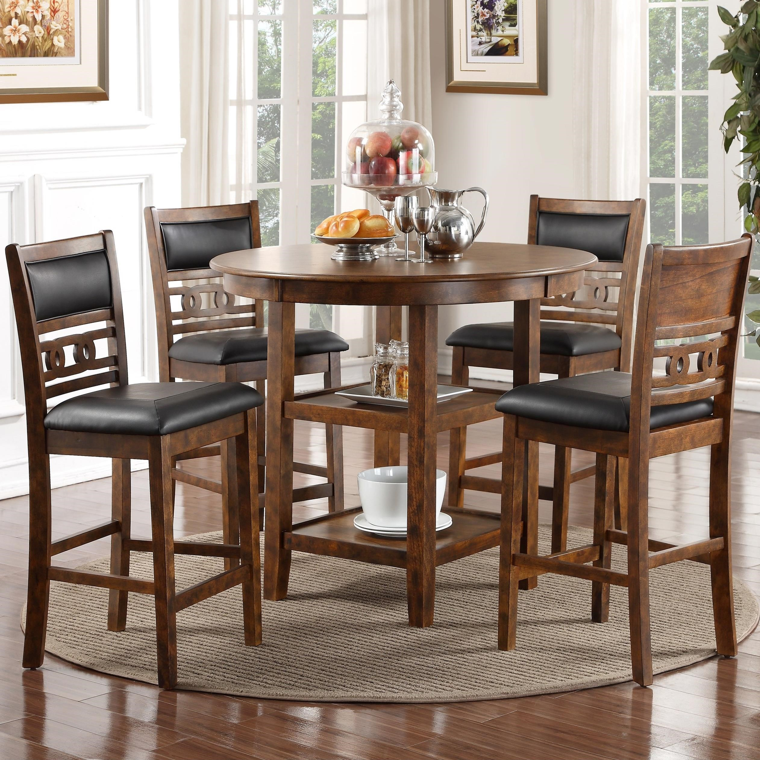 New Classic Gia Counter Height Dining Table And Chair Set With 4 Chairs And  Circle Motif   Great American Home Store   Dining 5 Piece Sets