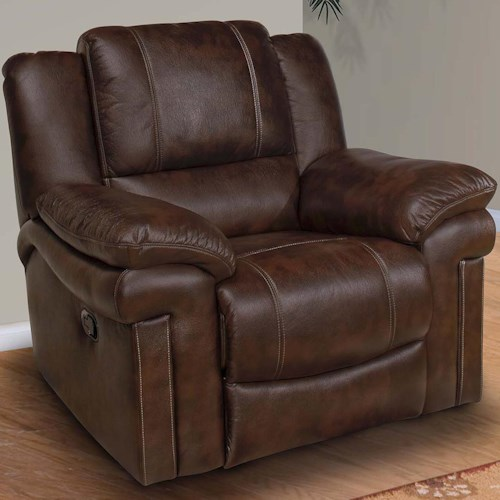 New Classic Hastings Traditional Glider Recliner with Pillow Top Arms